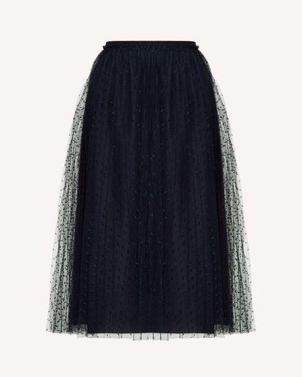 Pleated tulle point d'esprit skirt