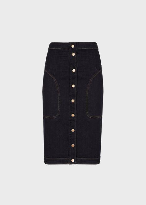 Denim longuette skirt with buttons