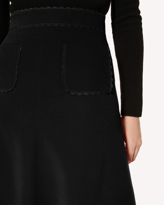REDValentino Stretch-frisottine skirt with zagana ribbon detail