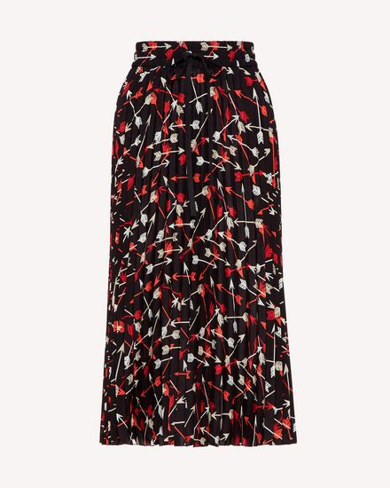 Arrows printed crepe de chine pleated skirt