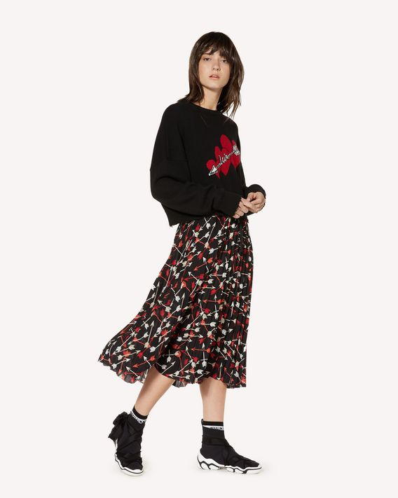 REDValentino Arrows printed crepe de chine pleated skirt