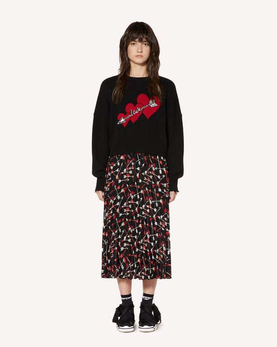REDValentino Crepe de chine pleated skirt with Arrow print
