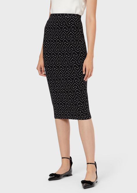 Ottoman-fabric pencil skirt with jacquard polka dots