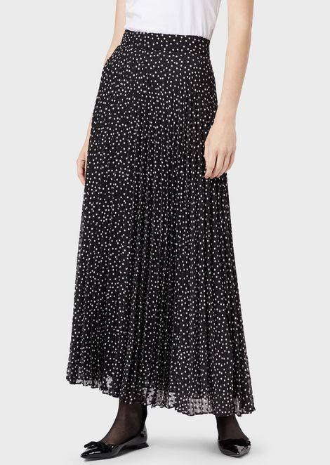 Long dress in crepon with jacquard polka-dot motif
