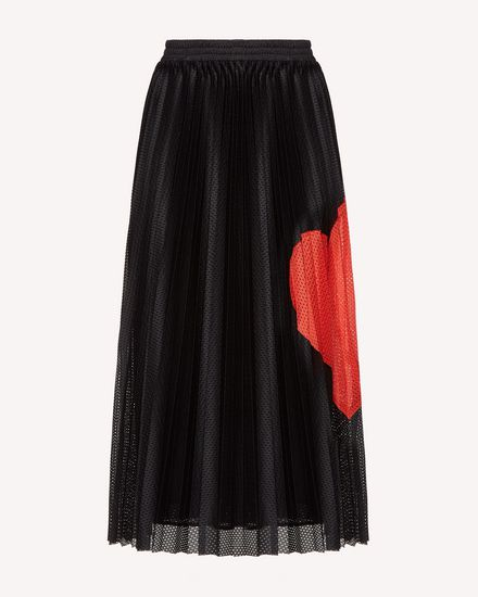 Heart intarsia jersey mesh pleated skirt