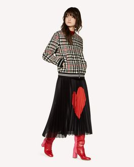 REDValentino Heart intarsia jersey mesh pleated skirt