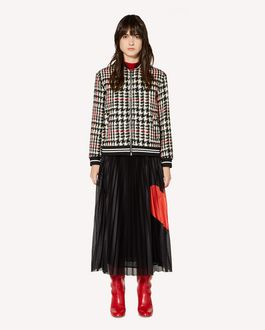 REDValentino Pleated mesh-jersey skirt with Heart inlay