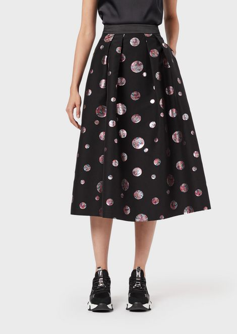 Full skirt with jacquard polka dots