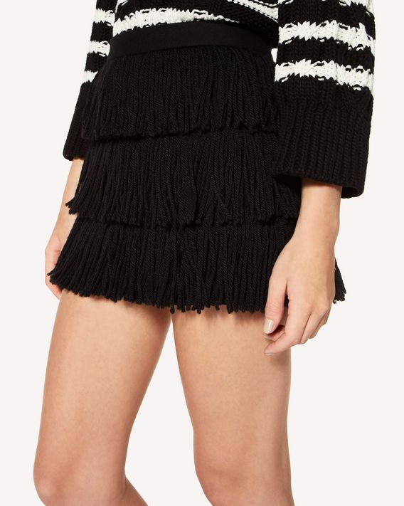 REDValentino Fringed wool and cashmere mini skirt