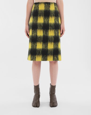 SKIRTS Mohair check skirt Yellow