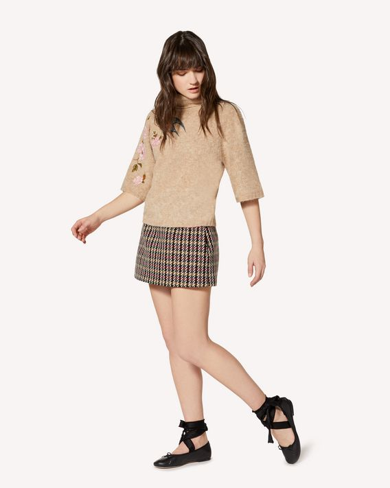 REDValentino Fancy wool houndstooth mini skirt