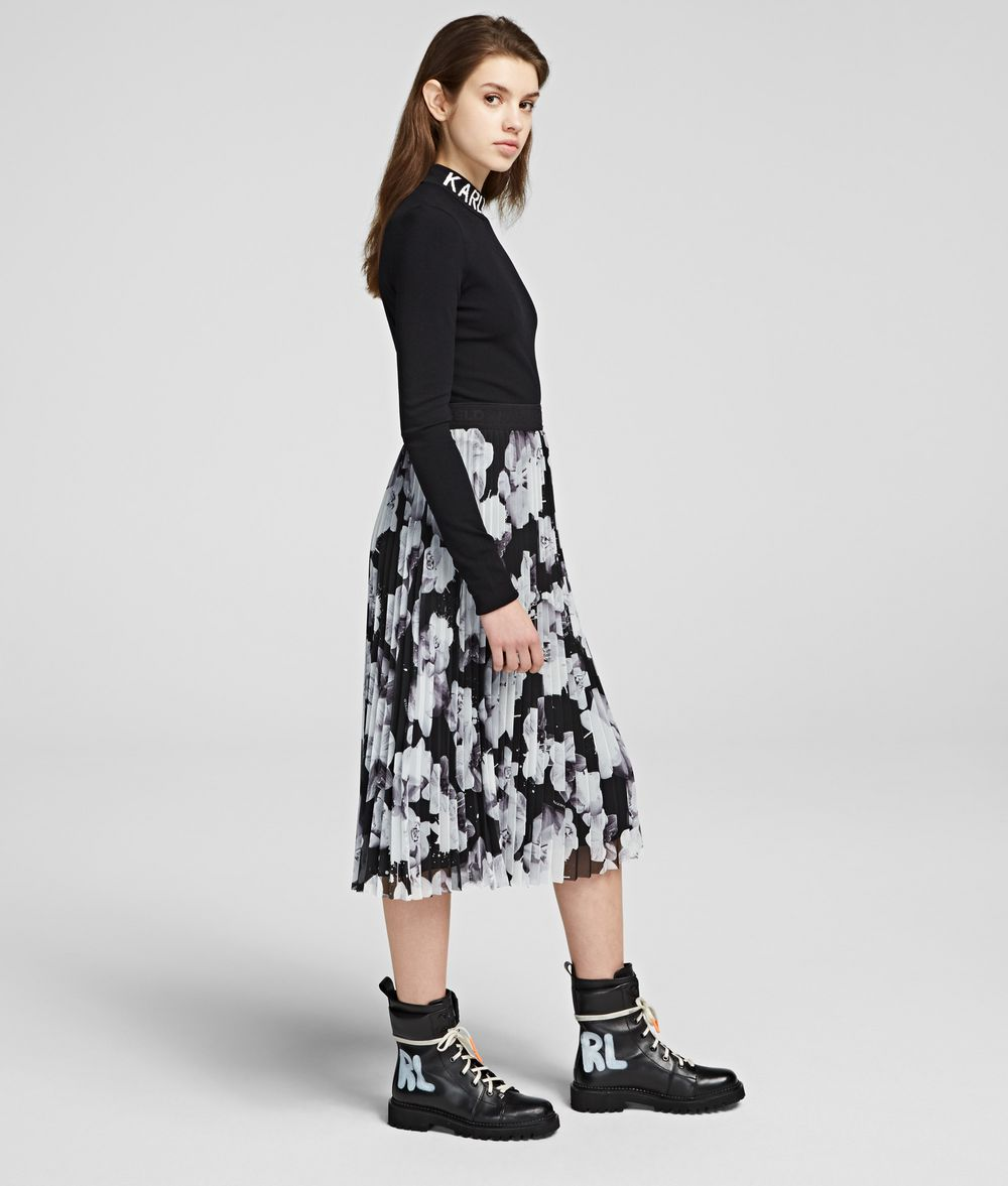 KARL LAGERFELD Orchid Print Maxi Skirt Skirt Woman d