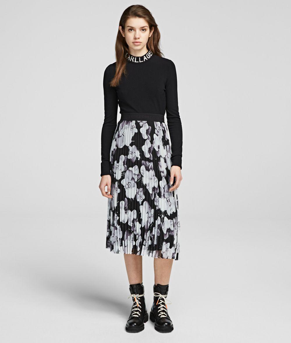KARL LAGERFELD Orchid Print Maxi Skirt Skirt Woman f