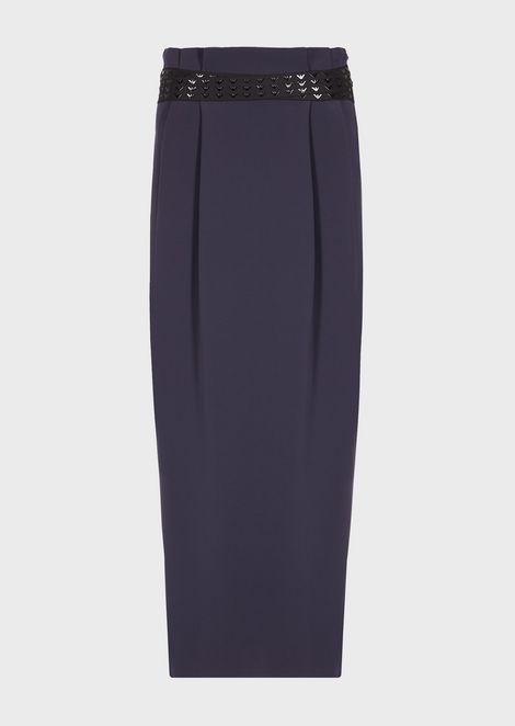 Long polyester skirt with all-over logo belt