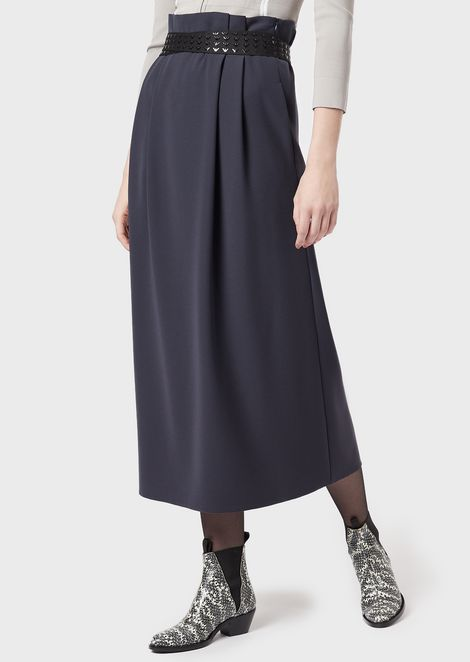 Long polyester skirt with all-over logo belt