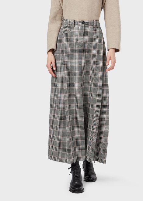 Falda larga de algodón y lana príncipe de Gales