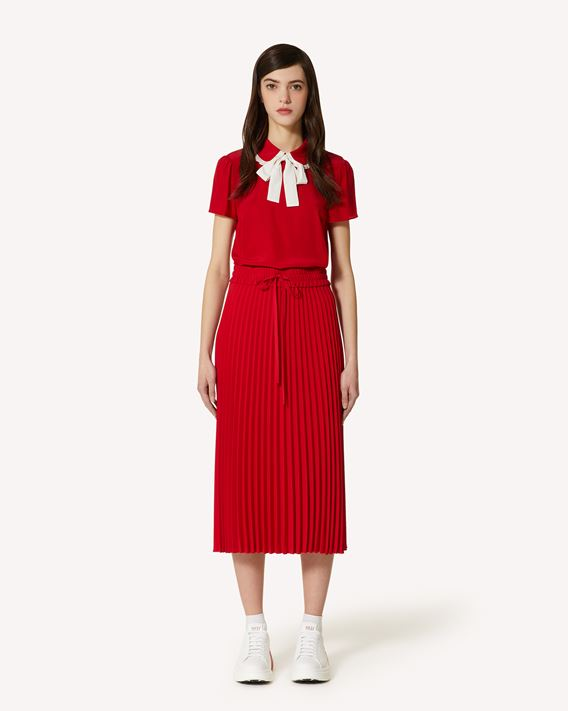 REDValentino Pleated fluid crepe skirt