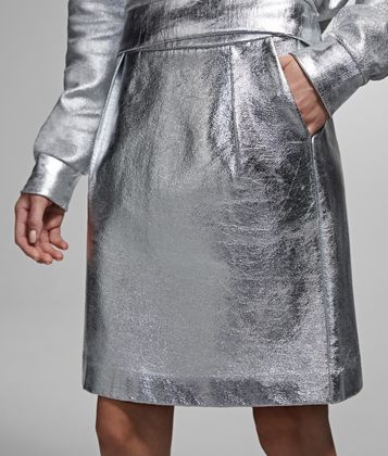 KARL LAGERFELD SILVER-COATED SKIRT