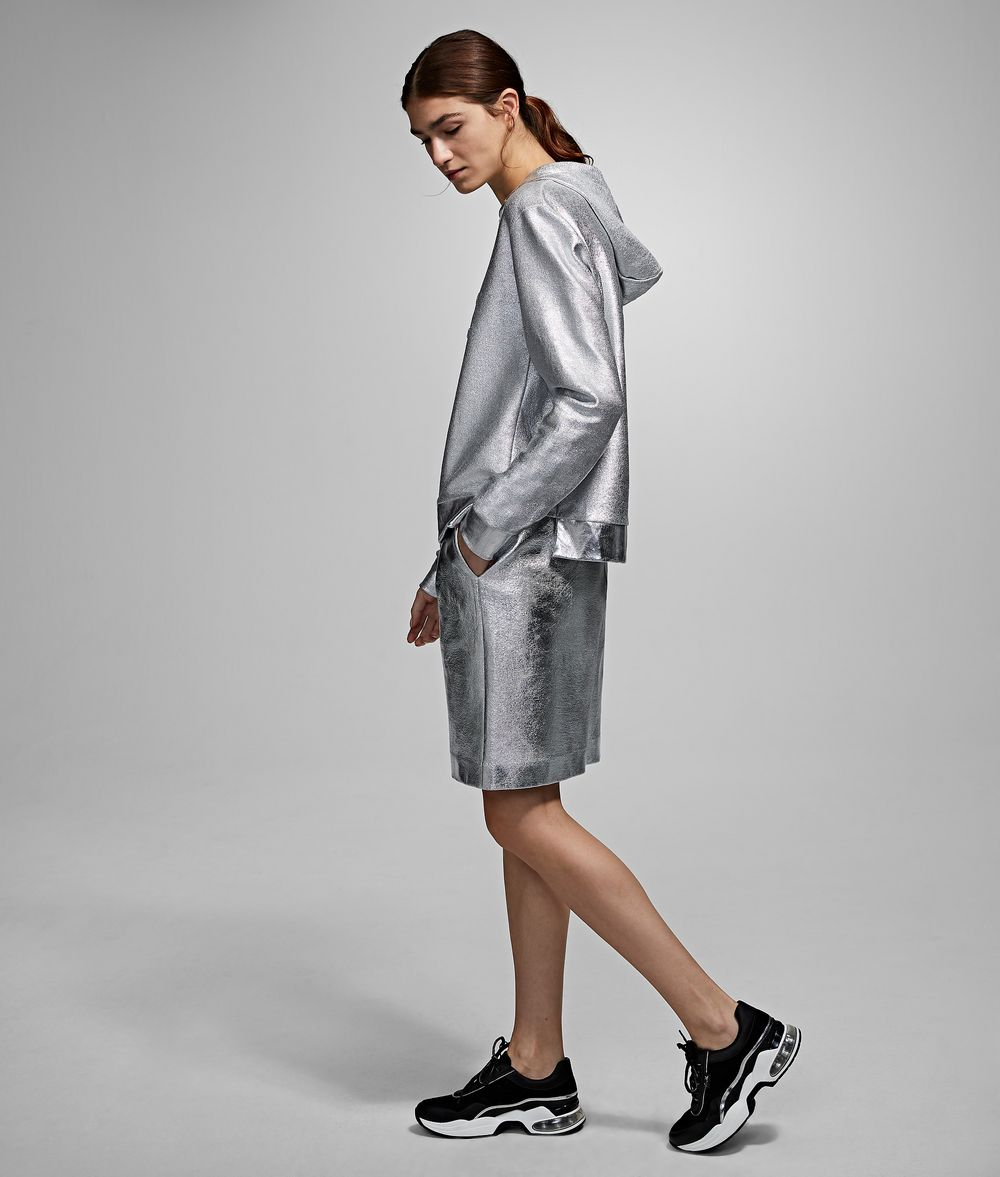KARL LAGERFELD Silver-Coated Skirt Skirt Woman d