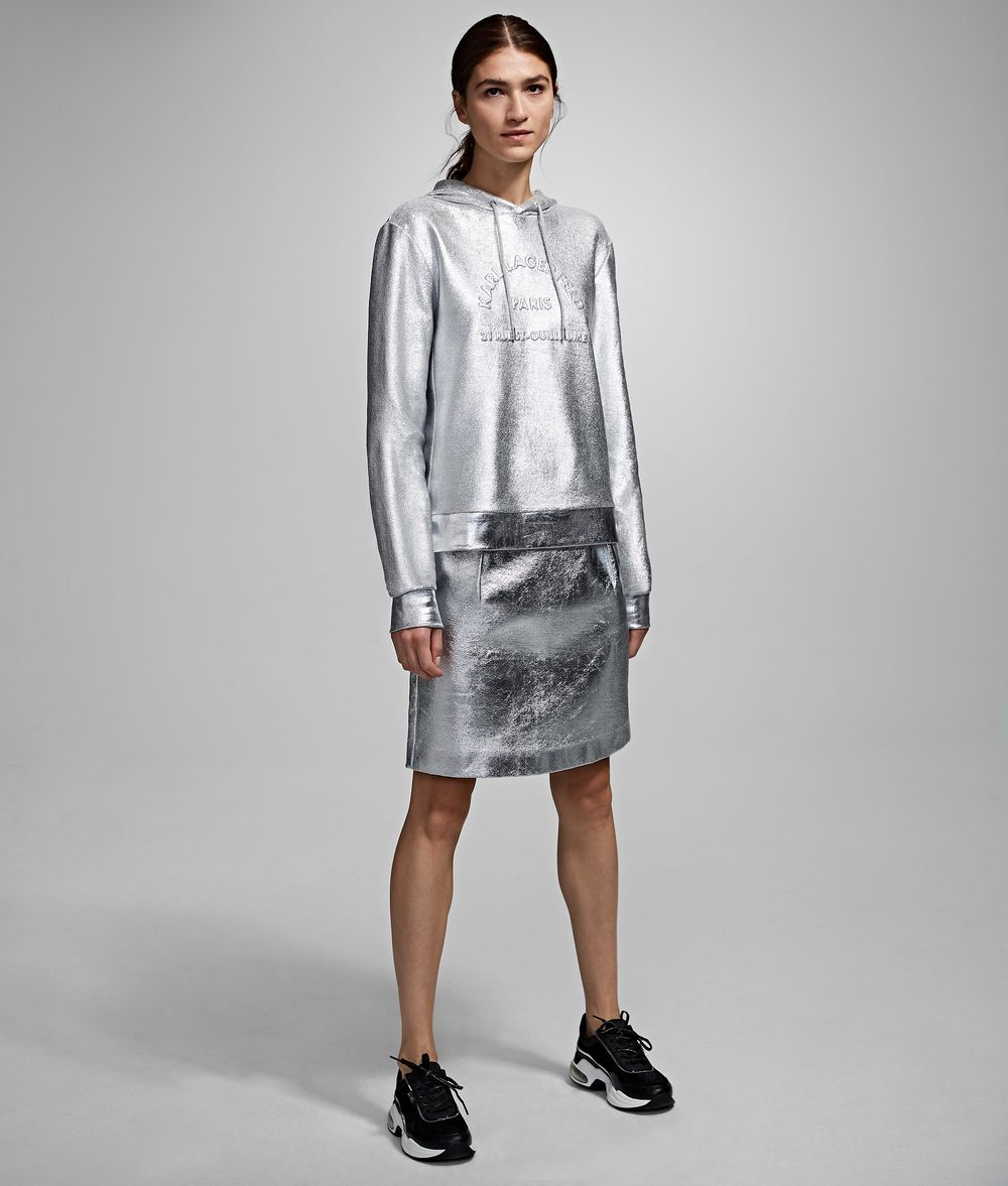 KARL LAGERFELD Silver-Coated Skirt Skirt Woman f