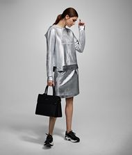 KARL LAGERFELD Silver-Coated Skirt Skirt Woman a