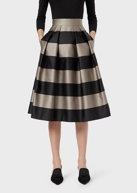 Duchesse satin flared skirt with maxi stripes