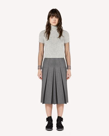 REDValentino Stretch Flannel pleated skirt