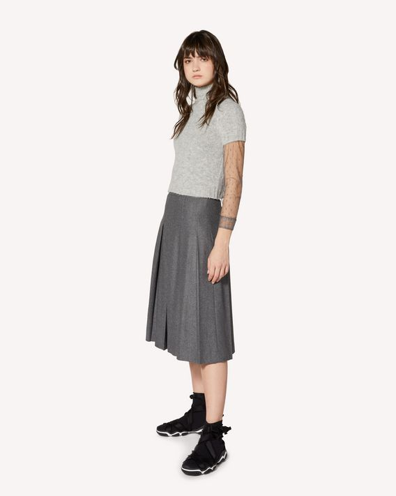 REDValentino Stretch flanel pleated skirt