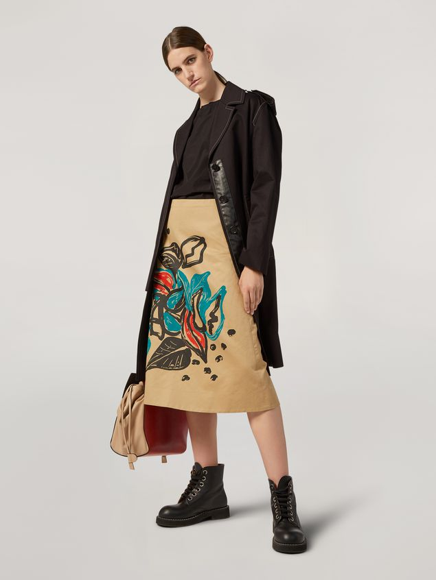 Marni A-lined skirt in cotton and linen drill Jungle Liz print Woman - 1