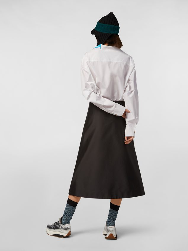 Marni A-lined skirt in techno mikado silk with embroidered multicoloured patches Woman