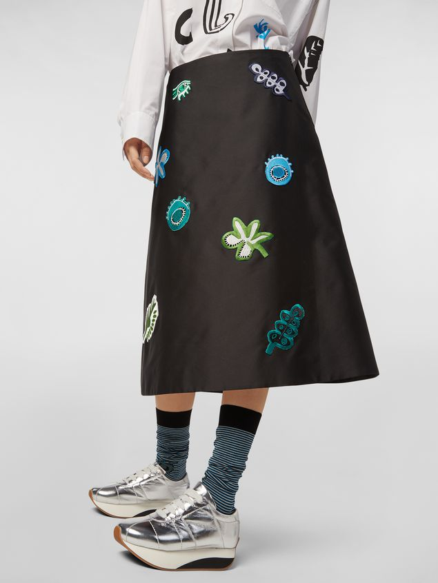 Marni A-lined skirt in techno mikado silk with embroidered multicoloured patches Woman - 5