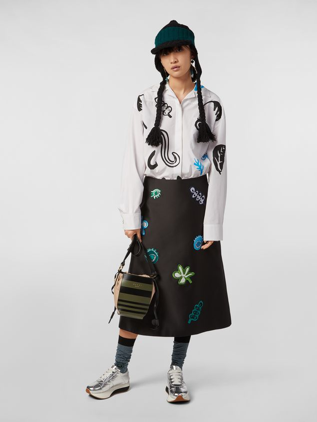 Marni A-lined skirt in techno mikado silk with embroidered multicoloured patches Woman - 1