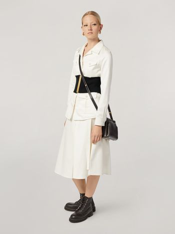 Marni A-lined skirt in cotton satin with side belts Woman f