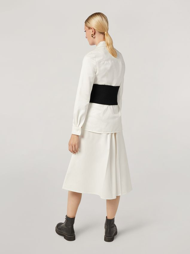 Marni A-lined skirt in cotton satin with side belts Woman