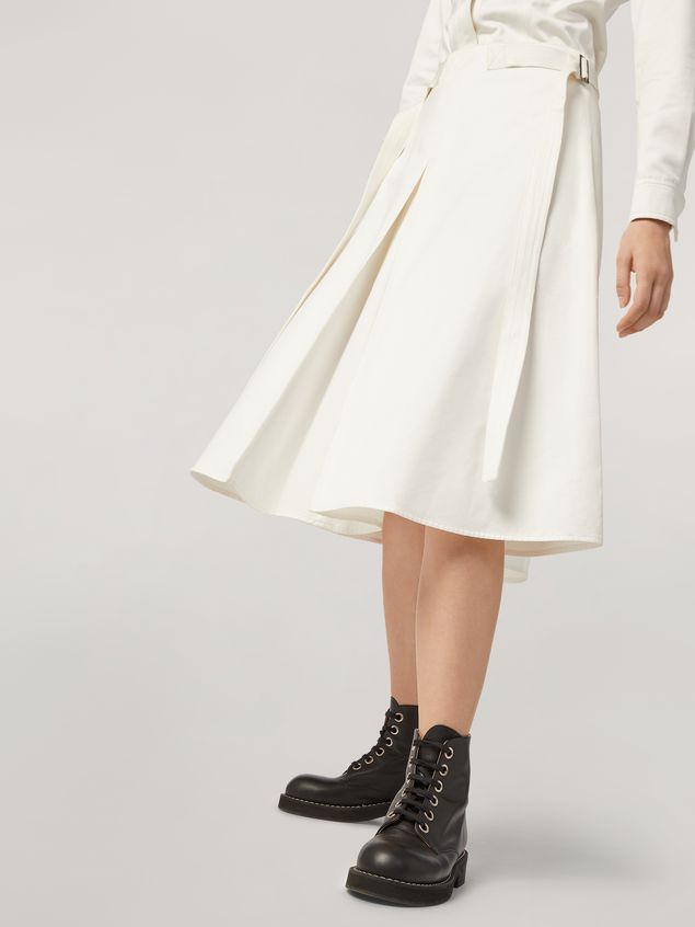 Marni A-lined skirt in cotton satin with side belts Woman - 5