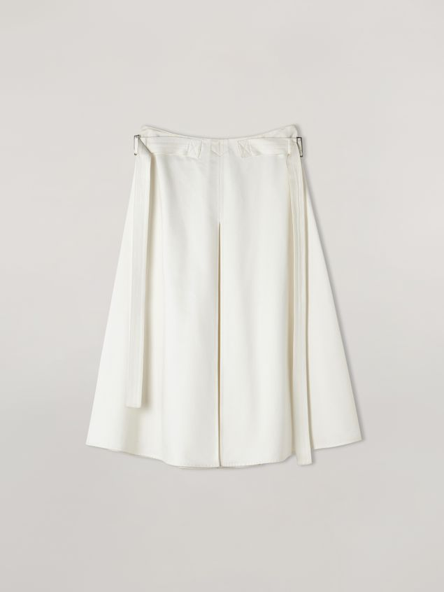 Marni A-lined skirt in cotton satin with side belts Woman - 2