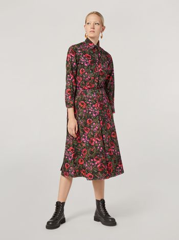 Marni A-lined skirt in poplin Amarcord print with side belts Woman f