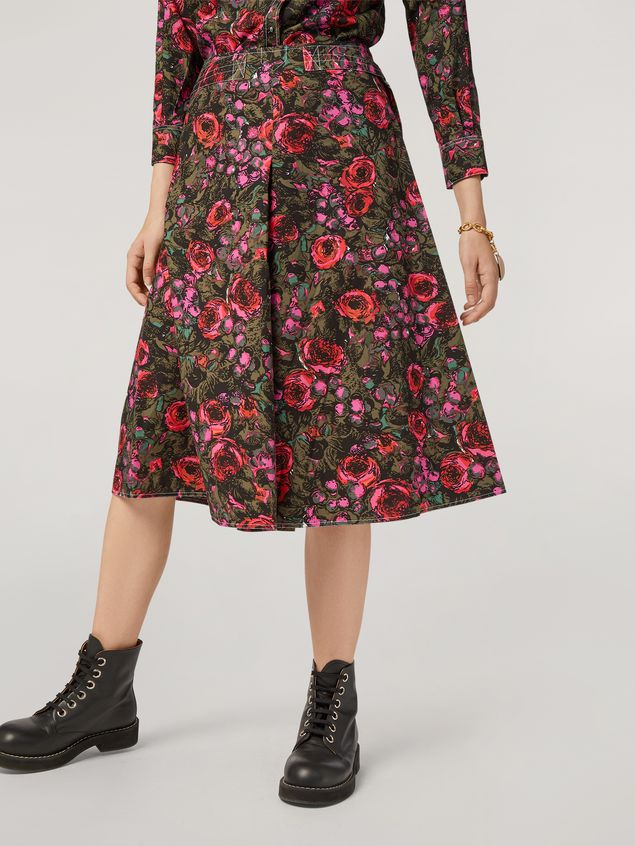 Marni A-lined skirt in poplin Amarcord print with side belts Woman - 5