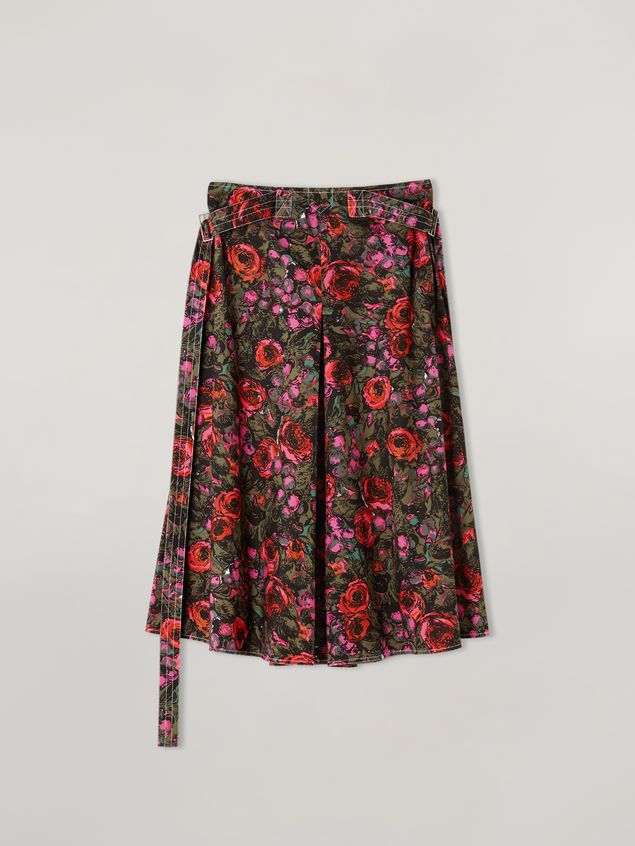Marni A-lined skirt in poplin Amarcord print with side belts Woman - 2