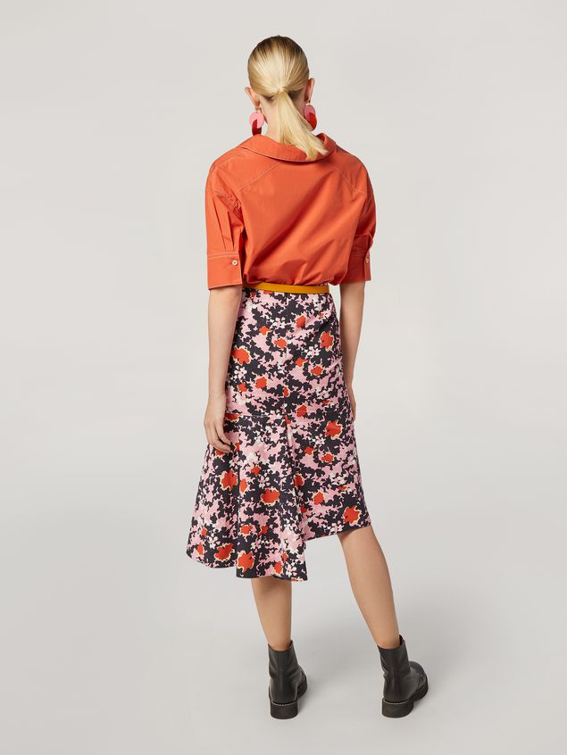 Marni Skirt in cotton and linen drill Buds print with asymmetric bottom Woman