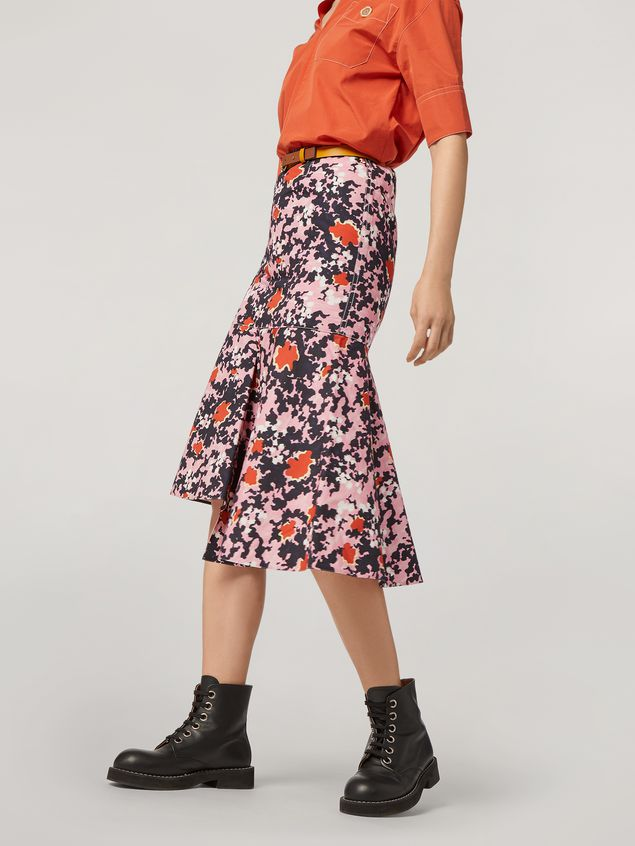 Marni Skirt in cotton and linen drill Buds print with asymmetric bottom Woman - 5
