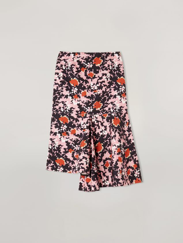 Marni Skirt in cotton and linen drill Buds print with asymmetric bottom Woman - 2