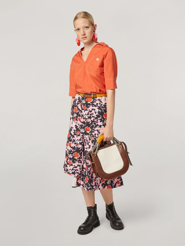 Marni Skirt in cotton and linen drill Buds print with asymmetric bottom Woman - 1