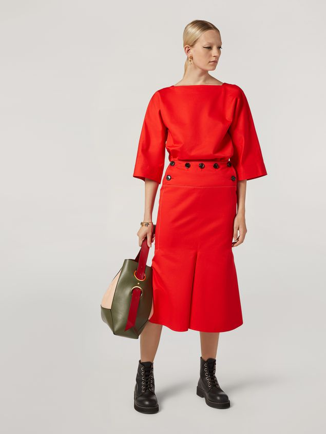 Marni Skirt in cotton and linen drill with fake front  Woman - 1