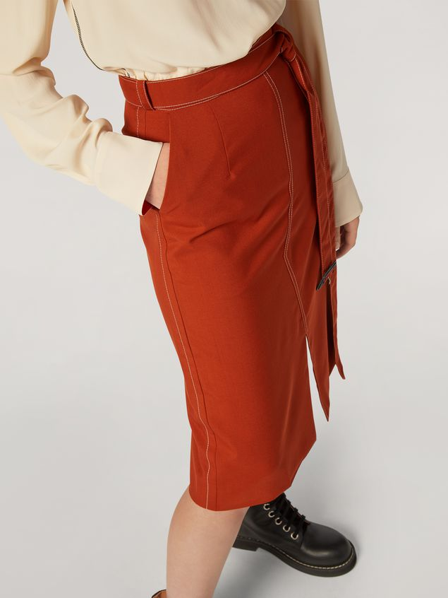 Marni Belted tulip skirt in tropical wool Woman - 5