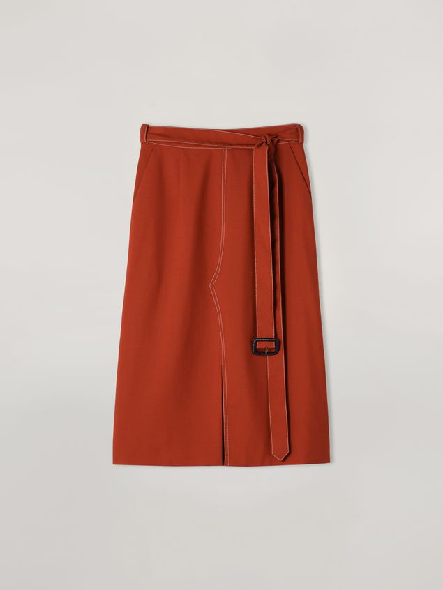 Marni Belted tulip skirt in tropical wool Woman - 2