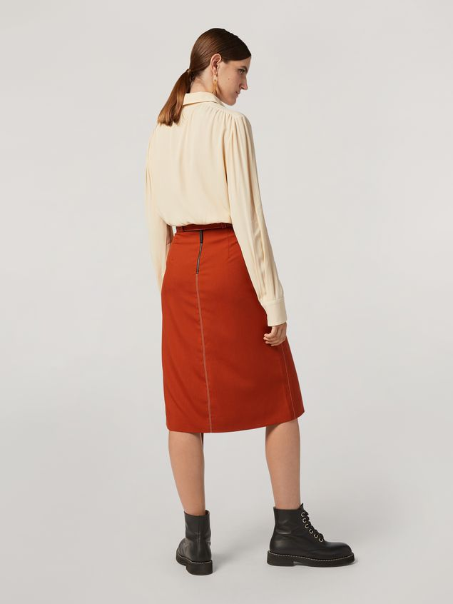 Marni Belted tulip skirt in tropical wool Woman - 3