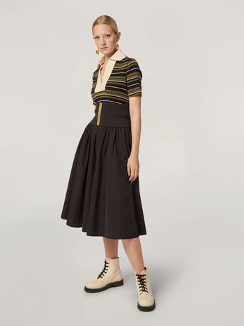 Marni Puckered A-lined skirt in cotton poplin Woman f