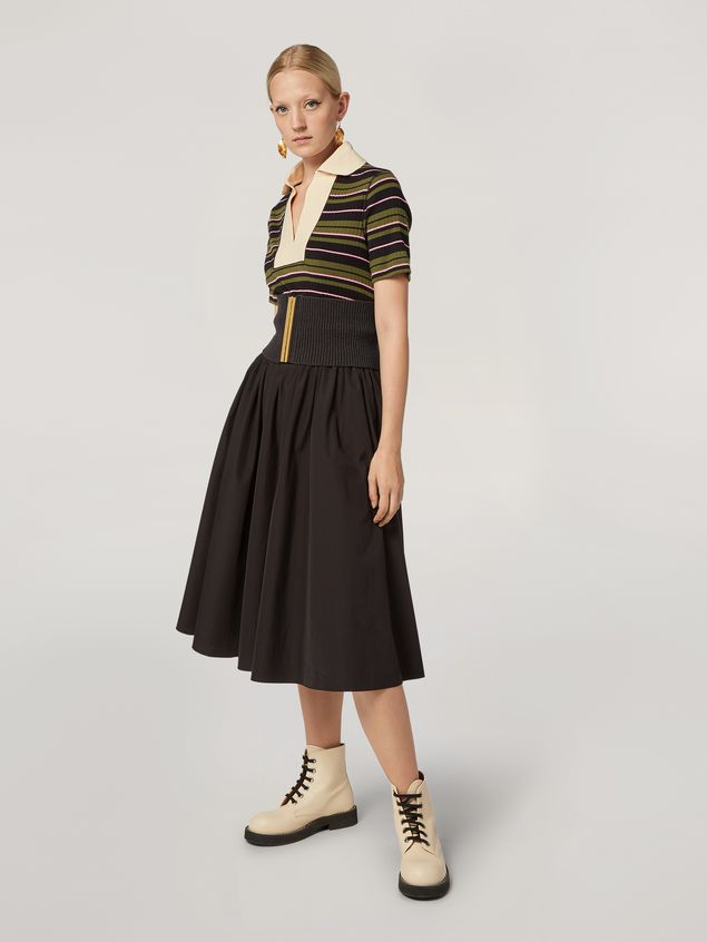 Marni Puckered A-lined skirt in cotton poplin Woman - 1