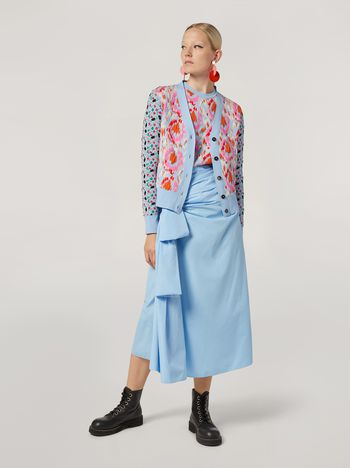 Marni Draped A-lined skirt in cotton poplin Woman f